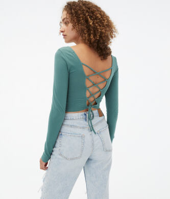 Aeropostale Women s Long Sleeve Seriously Soft Laced Back Cropped Baby Tee e5