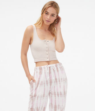 Aeropostale Women s Seriously Soft Thermal Snap Cropped Tank e529
