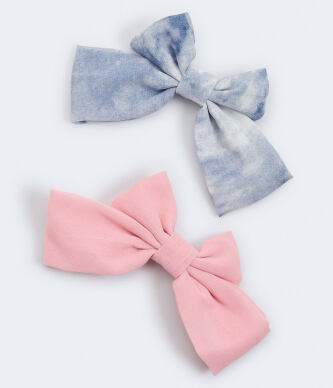 Aeropostale Women s Tie Dye and Solid Bow Barrette 2 Pack e513
