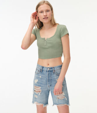 Aeropostale Women s Washed Cropped Snap Henley Tee e529