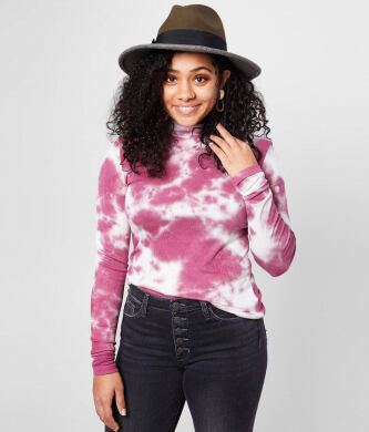 Gilded Intent Ribbed Mock Neck Tie Dye Top e532