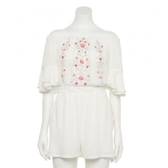 Juniors Hint of Mint Embroidered Romper Women s e548