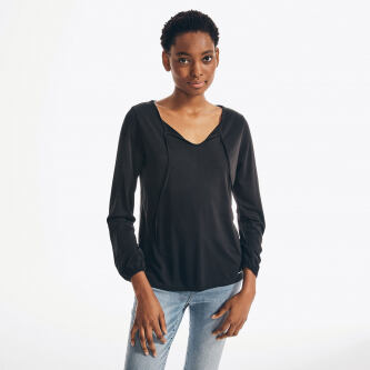 Nautica Womens Sustainably Crafted Tie Neck Top e559