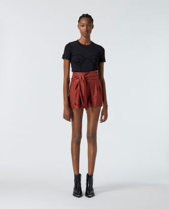The Kooples Pink jacquard satin shorts with waist tie WOMEN e5228
