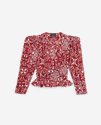 The Kooples Printed red blended silk top with ruffles WOMEN e5268